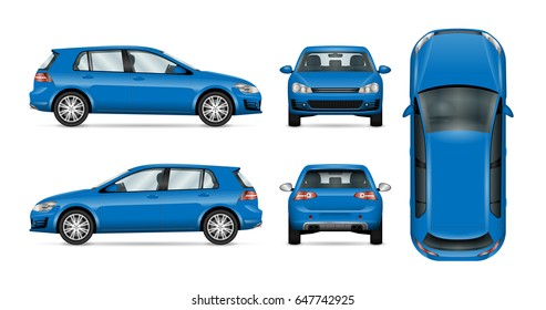 Blue vector car on white, template for car branding and advertising. Isolated hatchback set. All layers and groups well organized for easy editing and recolor. View from side, front, back, top
