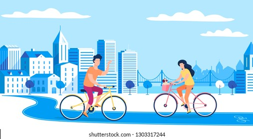Blue vector city sport lifestyle girl and boy with riding bicycles