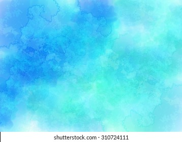 Blue vector clouds background in watercolor style