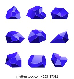 Blue vector crystals white background for mobile games apps. Set of cartoon crystal to gui illustration.