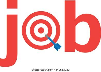 Blue vector dart on red bullseye target text job.