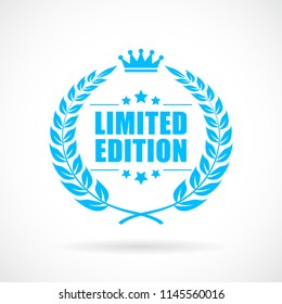 Blue vector emblem limited edition on white background