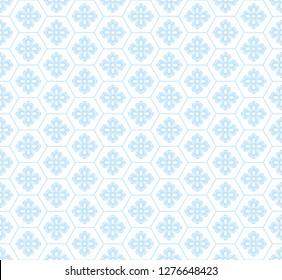 Blue vector flowers and geometric elements. Traditional Japanese seamless pattern. You can also use the pattern for fabric or wrapping paper, for curtains and rugs.
