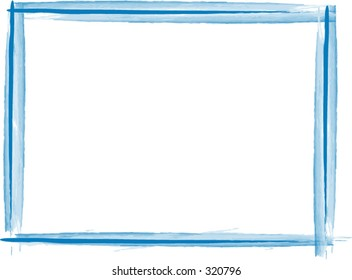 Blue vector frame opens up in photoshop on a transparent layer