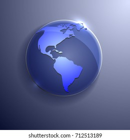 Blue Vector globe icon of the world