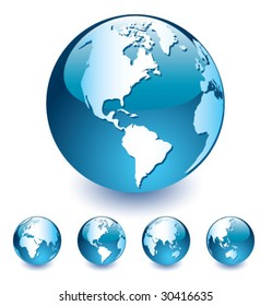 Blue Vector Globe [set 4]
