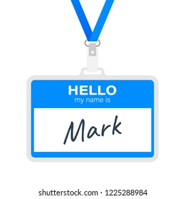 """Blue vector """"Hello my name is"""" label sticker on white background. Vector stock illustration."""