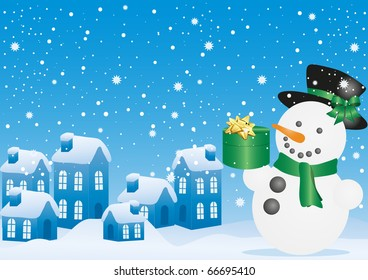 Blue vector illustration of Christmas snowman with gift