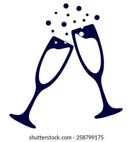 blue vector illustrations glasses of champagne