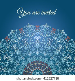 Blue vector invitation with mandala design element. Square invite template. Luxury floral weave pattern. Unusual greeting in oriental boho chic style. Round flower ornament. Decorative vintage print.