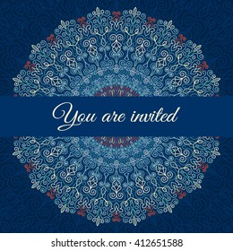 Blue vector invitation with mandala design element. Square invite template. Luxury floral weave pattern. Unusual greeting in oriental boho chic style. Round flower ornament. Decorative vintage print