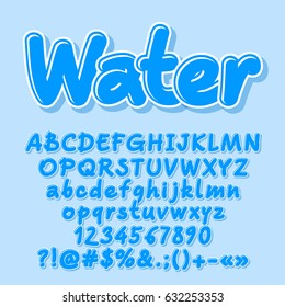 Blue vector letters, numbers, symbols, Font contains graphic style.