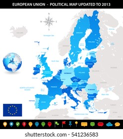 Blue vector map of the European Union, with flag and a 3D globe of the world centered on Europe.