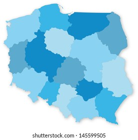 Blue vector map of Poland with voivodeships on white projected in UTM coordinate system. All elements are separated in editable layers clearly labeled.