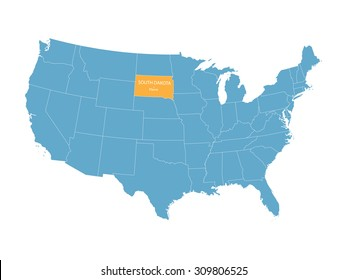 blue vector map of United States with indication of South Dakota