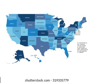Blue vector map of United States Of America isolated on white background