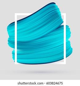 Blue vector paint brush smear on white background. Template female girly emblem design