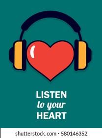 blue vector poster listen your heart