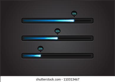 Blue vector progress bars