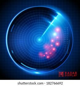 A blue vector radar display. Vector illustration.