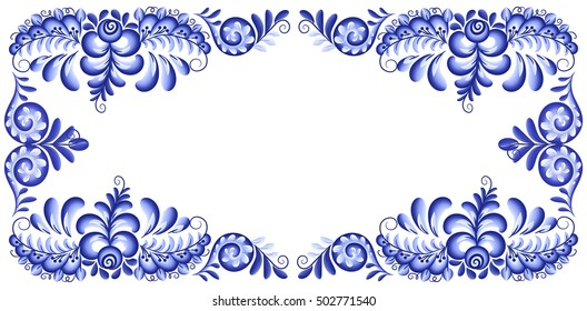Blue vector rectangular frame in Russian gzhel style