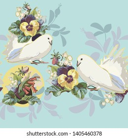 Blue vector repeat border with vintage flower bouquet, lilly of the valley, yellow pansy and white dove. Perfect for events, weddings and romance. Textile projects. Surface pattern design.