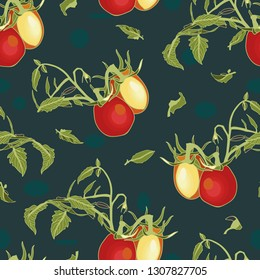 Blue vector repeat pattern with red tomatoes, blossom, branch and dots. Novelty pattern. Kitchen.