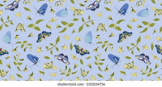 Blue vector repeat pattern with tomato blossom, branches and butterflies. Novelty pattern. Kitchen.