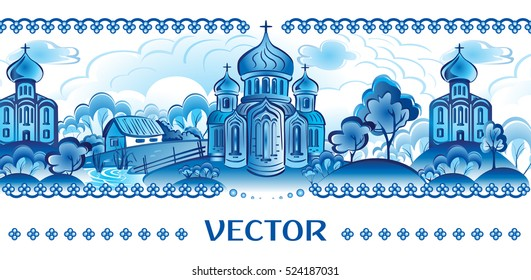 Blue vector in Russian traditional style. Village