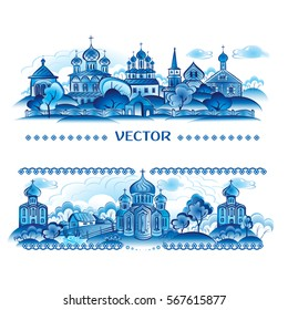 Blue vector in Russian traditional style. Decor. Village
