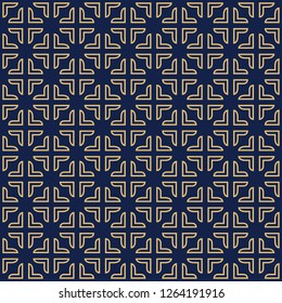 Blue vector seamless pattern. Modern stylish texture with square traingle and plus. Repeating geometric. Simple graphic design.