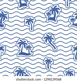 Blue vector seamless wavy line pattern with palms