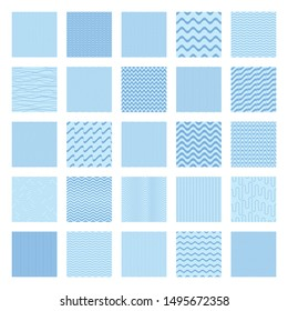 Blue vector seamless wavy line pattern big collection