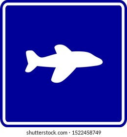 blue vector sign with a white aircraft symbol