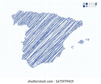 Blue vector silhouette chaotic hand drawn scribble sketch of Spain map on grid background.