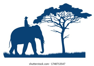 Blue vector silhouette of an elephant rider. African tree in the savannah. Mammal and human. Safari wild savannah. African landscape. Ride an elephant. Flat dark blue illustration