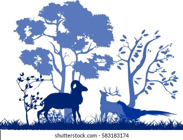 Blue vector silhouettes of wildlife, animals ,tree, grass