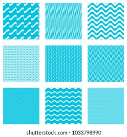 Blue vector simple seamless wavy line patterns collection