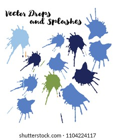 Blue Vector Splashes, Hand Painted Watercolor Splatter. Indian Holi Color Festival, Paint Highlight, Explosion. Blue Holi Paint Splats, Vector Paintbrush Swatch. Bright Funky Graffiti Smears, Buttons.