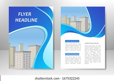 Blue vector template design for business brochure, flyer, poster, booklet, presentation, annual report, magazine cover, team educational training. A4