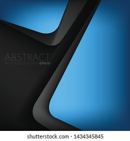 Blue vector triangle background with black space overlap layer for background design