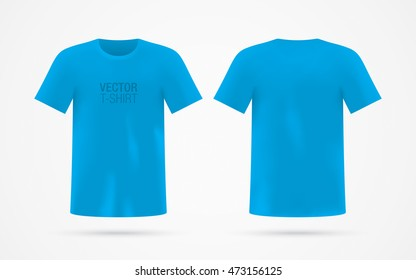 Blue vector T-shirt template, isolated on background. Men's realistic T-shirt mockup. Front & back sides.