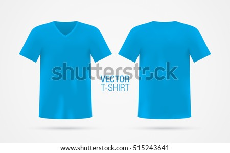 204cc9ff Blue Vector Vneck Tshirt Template Mens Stock Vector (Royalty Free ...