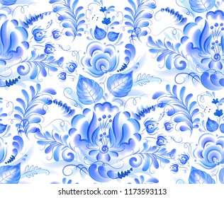 Blue vector watercolor flowers seamless pattern in Russian gzhel style