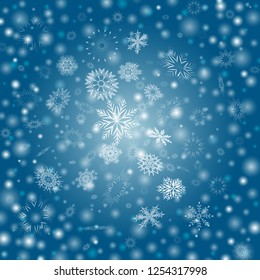 Blue Vector Winter background with flay snowflakes