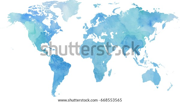 Blue vector world map in watercolor style