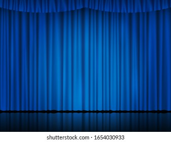 Blue velvet curtain in theater or cinema. Vector background with closed stage curtains with drapery, spot of light and reflection on glossy floor. Blue fabric drapes lit by searchlight