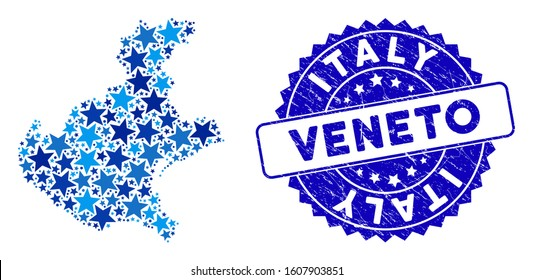 Blue Veneto region map mosaic of stars, and grunge rounded stamp seal. Abstract territory plan in blue color tints. Vector Veneto region map is composed of blue stars.