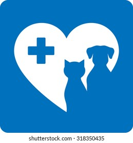 blue veterinary icon with pet, heart and cross