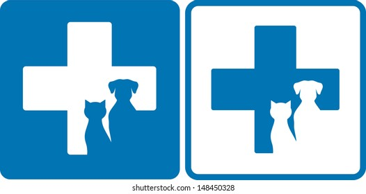 blue veterinary symbol with dog and cat silhouettes